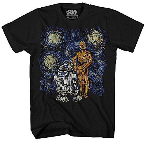 Star Wars T Shirt Men's Starry Night Droid R2-D2 C-3PO Men's Graphic Tee