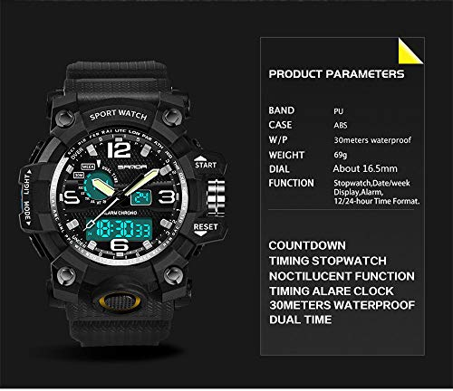 Beclgo Men's Watch Classic Multifunction Sport Waterproof Quartz Watches Colorful Cold Light LED Double Display Outdoor Adventure Electronics Men's Luminous Wrist Watch