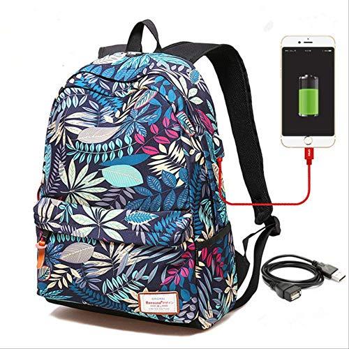 Tas voor school en rugzak voor laptop met USB-oplading voor vrouwen voor studenten, schooltassen en schooltassen