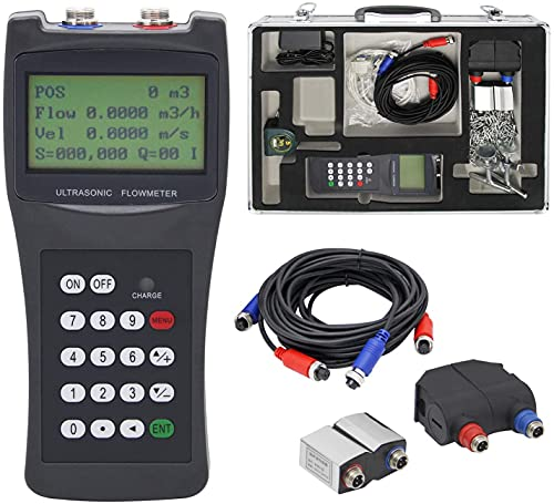 """CGOLDENWALLHandheldUltrasonicFlowmeterClamponFlowMeterPortableLiquidFlowMeterwithS1+M2TransducersforCopper/PVC/PPR/FRPpipeDN15-700mm1/2-28"""""""