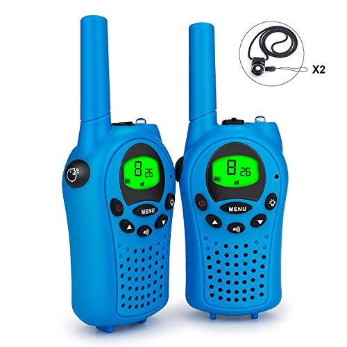 Debonice Walkie Talkies walki talki kinder und Outdoor-Reisen LC-Display VOX 8 Kanäle Taschenlampe Funkgerät 2er-Set (Blau)