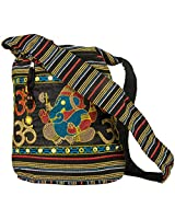 Women Hobo OM Black Cross Body Shoulder Bag Elephant Embroidered School Everyday Shopping Casual Lightweight