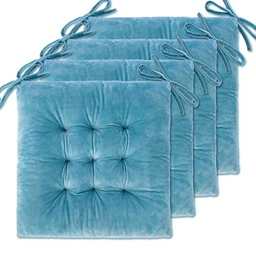 """4 Pack Seat Cushion / Chair Cushion Pads for Dining Chairs, Office Chair, Car, Floor, Outdoor, Patio,Machine Wash & Dryer Friendly (Flannel 16""""×16"""", Light Blue)"""