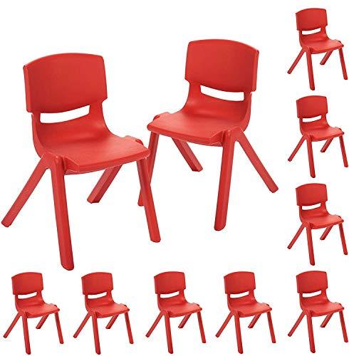 ECR4Kids 12 inch Plastic Stackable Classroom Chairs, Indoor/Outdoor Resin...