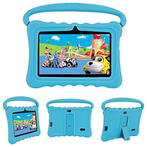 MIALX Tableta para Niños 7'HD | Android Quad Core 16GB | Tablet PC con WiFi Bluetooth Cámara | Control Parental Y Software para Niños Preinstalado para Niños para Juegos Educativos con Estuche,Azul