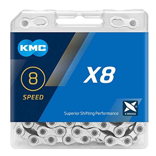 KMC X8 Chain, Catena Unisex Adulto, Silver, 1/2' x 3/32'