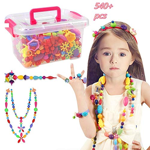 Pop Beads Set - 540+ PCS Snap Together Beads for Girls Toddlers Creative DIY...