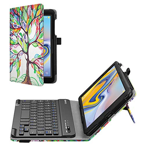 Fintie Folio Keyboard Case for Samsung Galaxy Tab A 8.0 2018 Model SM-T387 Verizon/Sprint/T-Mobile/AT&T, Premium PU Leather Stand Cover with Removable Wireless Bluetooth Keyboard, Love Tree