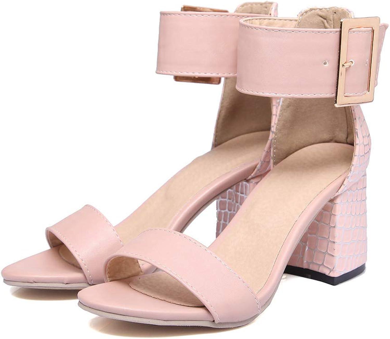 Pophight Women Sandal Square High Heel Platform 2019 New Women shoes Slingback Peep Toe PU Leather Ladies Wedding shoes Size 34-43