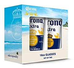 Contains two 16 ounce glasses Each glass is approximately 6.5 inches tall and 3.75 inches across The glasses are dishwasher safe A great addition to any kitchen or bar