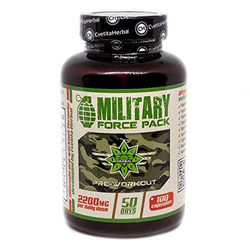 Military Force Pack - 1110 MG X 100 capsulas   Arginina AAKG   L-carnitina   Extracto de té verde   Extracto de ginseng   Extracto de té mursala   Extracto de leuzea/maral   Extracto de cardo