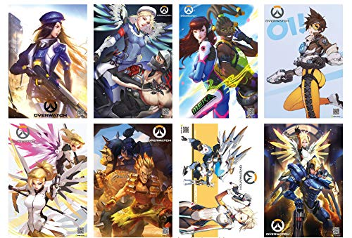 ePanda Hot Game Overwatch Poster Wall Decor Art Print,Set of 8 pcs,11.5x16.5 inches