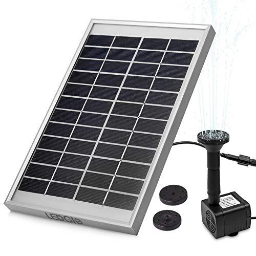 LEDGLE Fuente Solar de 5 W, Bomba de Agua Solar para Jardín, con Flujo Máximo de 200 L/H