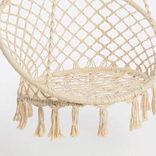 Hängesessel zum Aufhängen – mit rundem Sitzkissen – inkl. Spreizstab – Weiß Beige – Belastbarkeit max. 100 kg - 5