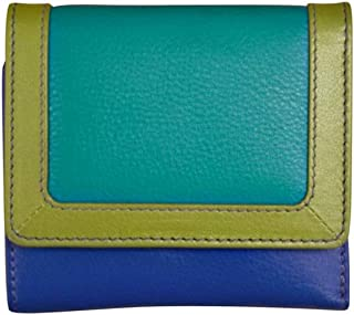 ili New York 7824 Leather Tri-fold Color Block Wallet with RFID Lining