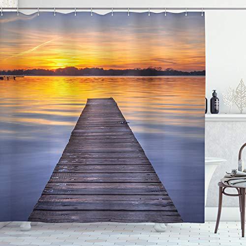 ABAKUHAUS See Duschvorhang, Sonnenuntergang am Paterwoldsemeer, Waschbar & Leicht zu pflegen mit 12 Haken Hochwertiger Druck Farbfest Langhaltig, 175 x 200 cm, Orange Blau Grau Umbra