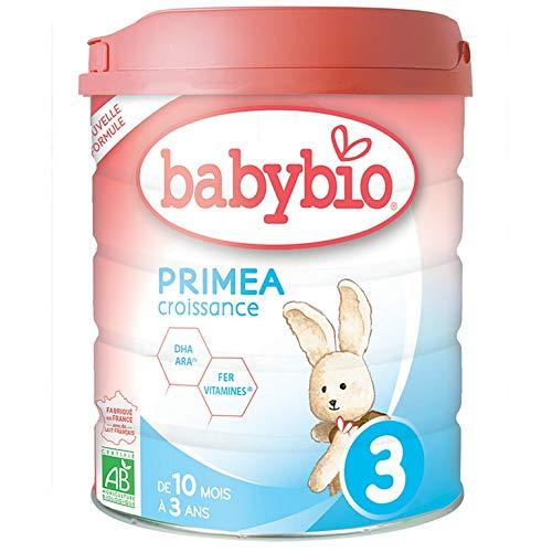 Babybio PRIMEA 3 Croissance - 3ème âge dès 10 Mois - 800g - BIO Fabriqué en France & Lait français - Formule PREMIUM : DHA/ARA