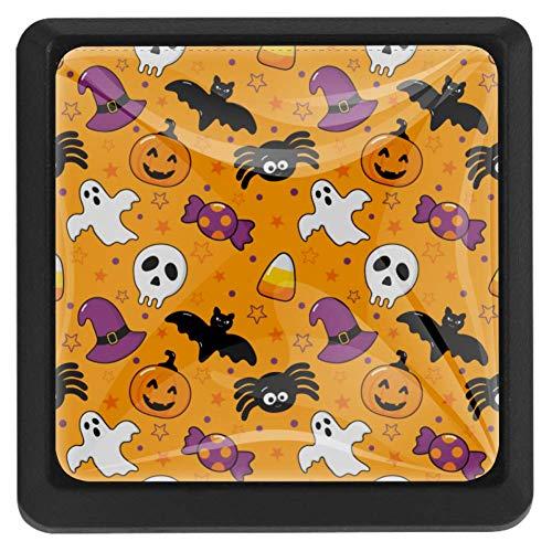 Halloween Ice Cream vierkante lade knoppen trekken handgrepen 3 Pack gebruikt voor keuken, dressoir, deur, kast Modern design 37x25x17mm/1.45x0.98x0.66in Happy Halloween Icons Oranje