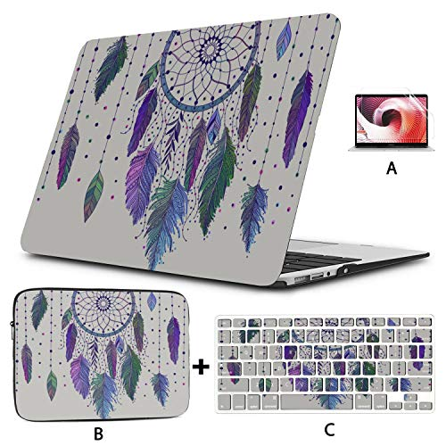 Macbook Air Covers Colorful Psychedelic Dream Feather Macbook Pro A1989 Case Hard Shell Mac Air 11'/13' Pro 13'/15'/16' With Notebook Sleeve Bag For Macbook 2008-2020 Version