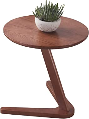 Solid Wood Side Table Mini Coffee Table in The Living Room Round Coffee Table Simple Bedroom Bedside Table Durable (Color : W