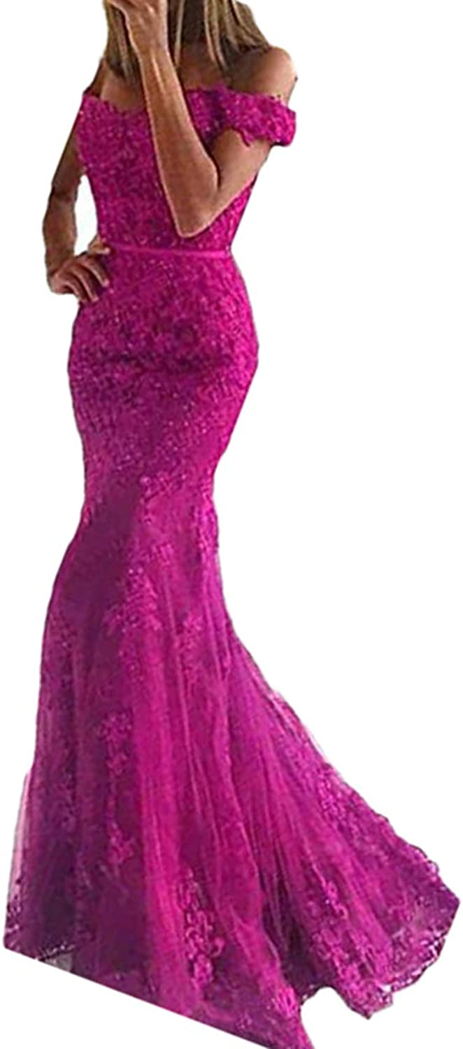 Alilith.Z Sexy Off The Shoulder Appliques Lace Prom Dresses Beaded Long Mermaid Formal Evening Party Gowns for Women 2018