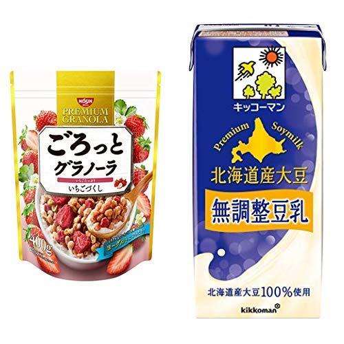 【セット買い】ごろっとグラノーラいちごづくし400g 400gX6袋 + キッコーマン飲料 北海道産大豆 無調整豆乳 1L×6本