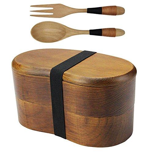 AOOSY Japanese Bento Box Lunch Boxes Japanese Double Layer Natural Wooden Bento Boxes Lunch Box For Kids Adult Picnicking Office School Hiking Camping