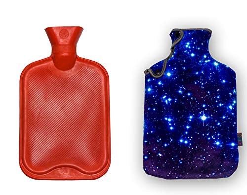 Buy iColor 2L Rubber Hot Water Bottle with Soft Warm Flannel Cover Classic 2000ml 68oz Hot or Cold W...