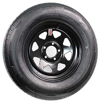 2-Pack Trailer Tire and Rim Bias Ply ST205/75D14 LRC 5-4.5 Black Spoke Wheel