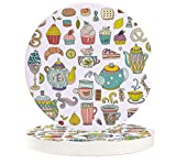 Absorbent Stone Car Coasters for Drinks Cartoon Teapot Ice Cream Strawberry Fruit Flower Hamburger Donut 2.56 inches Car Accessories with Absorbent Coasters with Cork