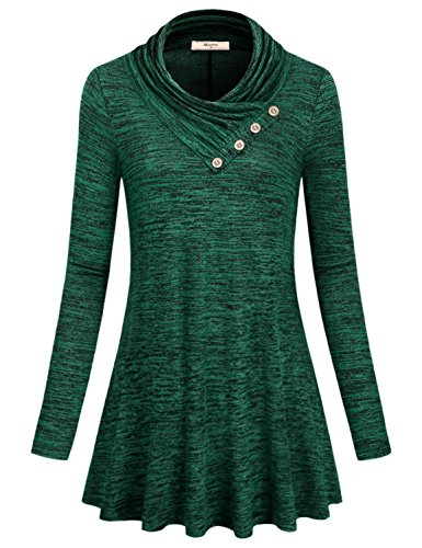 Cowl Neck Sweater,Miusey Womens Loose fiting Fall Long Sleeve Top with Leggings High Neck Flattering Knitted Office Outwear Ultral Soft Cozy Elegant Pleated Neck Blouse Large Green L