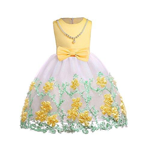Kobay Kobay Baby Mädchen Gestickt Prinzessin Brautjungfer Festzug Geburtstagsfeier Hochzeit Mesh Tutu Kleid(4-5T,Gelb)