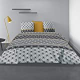 Les Ateliers du Linge® - Parure de lit 100% Coton 57 Fils - Housse de Couette - House de Couette 220 x 240 - Parure de lit avec Housse de Couette - Taies d'oreiller- 240 x 220 cm - Saky Gold