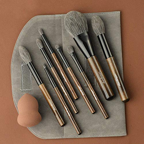 Ensemble de pinceaux de maquillage professionnel 8 pièces manche en bambou Premium mélange synthétique fard à joues correcteur visage pour les yeux liquide poudre crème crème pinceaux cosmétiques Kit
