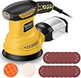 Orbital Sander, Ginour 6 Speed Electric Sander, 300W 13000 RPM, 15 Sandpapers 125mm, Sponge Plate and Wool Plate, Dust Collector, For home decoration