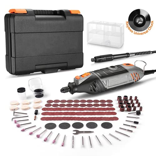 Rotary Tool Kit, 135W Upgraded Powerful Motor With Variable Speed, 150pcs Rotary Tool Accessories With MultiPro Keyless Chuck & Flex Shaft Perfect For Crafting & DIY Projects-RTSL50AC Grey