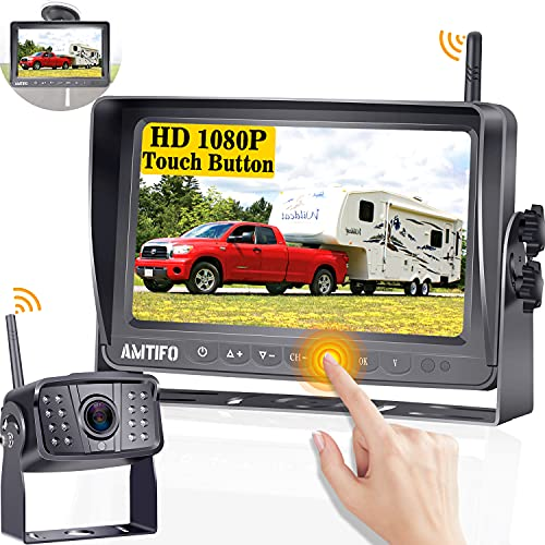 Wireless Backup Camera AMTIFO HD 1080P RV Camera with 7'' DVR Monitor System for RVs,Trailers,5th Wheel,Support Up 4 Rear View Cameras,IR Night Vision,170° Wide View Angle Camera with Stable Signal-A8