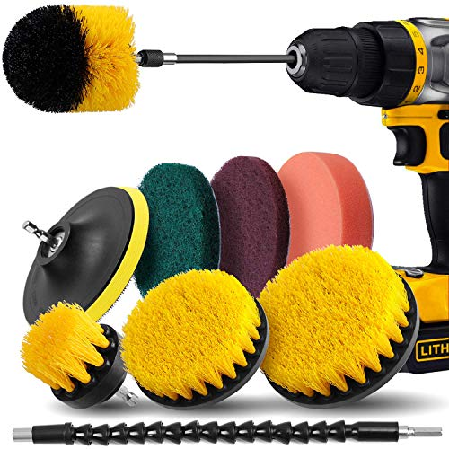 Drill Brush Attachment Set - Drill Brush Power Scrubber 10 Piece, Scrub Pads & Sponge, Extend Long...