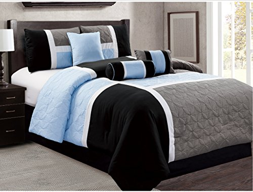 Dovedote 7 Piece Luxury Microfiber Quilted Patchwork Comforter Set, Cal King, Gray