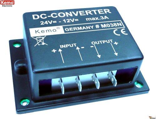 KEMO M038N Spannungswandler 24 V > 12 V/DC, max. 3 A/Spannung-Umwandler Reduzierer/Konverter