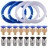 SIQUK 4 Pieces Teflon Tube PTFE Tubing(1 Meter) with 8 Pieces PC4-M6 Fittings and 8 Pieces PC4-M10 Male Straight Pneumatic PTFE Tube Push Fitting Connector for 3D Printer 1.75mm Filament