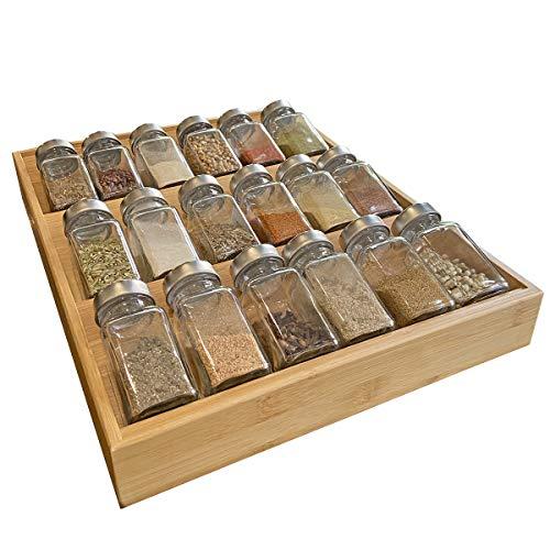 Simhoo Gewürzregal aus Bambus, Gewürzschale, Abgeschrägte Aufbewahrungsbox für Gewürzflaschen, Küchenschublade, Geeignet für das Esszimmer