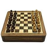 TX NIÑA Mini Ajedrez De Madera Maciza De Ajedrez Magnético Portátil Antideslizante Cajón Piezas Exquisita Caja De Puzzle Juegos De Mesa (Size : 13cm*13cm*2.3cm)