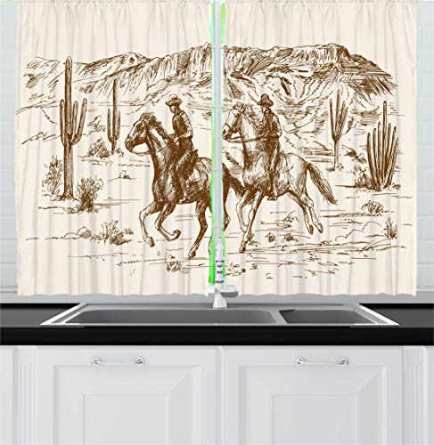 """Ambesonne Western Kitchen Curtains, Country Theme Hand Drawn Illustration of American Wild West Desert with Cowboys, Window Drapes 2 Panel Set for Kitchen Cafe Decor, 55"""" X 39"""", Umber Cream"""