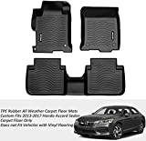Honda Accord Floor MATS,COOLSHARK TPE Rubber All Weather Carpet Floor Mats for Cars 2013 - 2017 Honda Accord Sedan,Full Set Floor Liners Included,Black