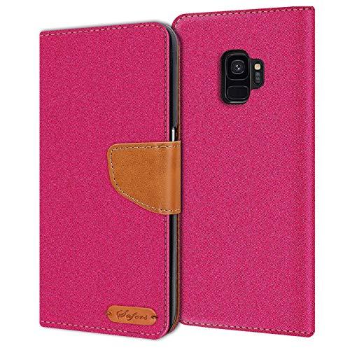 Verco Galaxy S9 Hülle, Schutzhülle für Samsung Galaxy S9 Tasche Denim Textil Book Case Flip Case - Klapphülle Pink