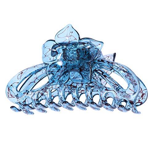 Lurrose Transparente blaue Blume Haargreifer Clip große Harz Haarspange für Frauen