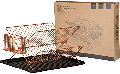 JOHSEATY Abtropfgestell Geschirr Faltbar Rosegold Metall (36,5x30,5x22cm) mit Besteck Halterung und Abtropfschale aus Plastik Abtropfgitter Faltbar für Spüle für Ablage Geschirrkorb für Teller
