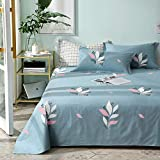 100% Cotton Flat Sheets King Size Pretty Flower Love Bed Sheets Twin Queen