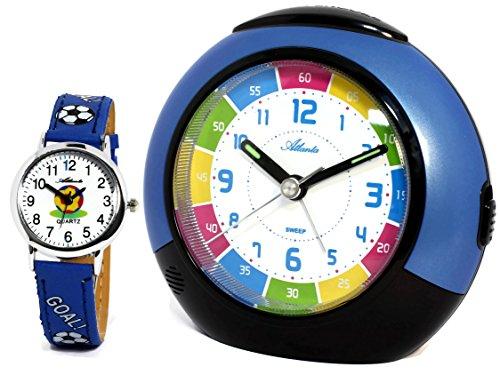 Kinderwecker Jungen ohne Ticken mit Armbanduhr Fussball Blau - 1678-5 KAU